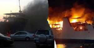 Taşucu'ndan yolcu götüren gemi Lübnan'da yandı