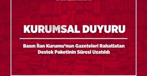 Basın İlan Kurumunun Gazeteleri Rahatlatan Destek Paketinin Süresi Uzatıldı